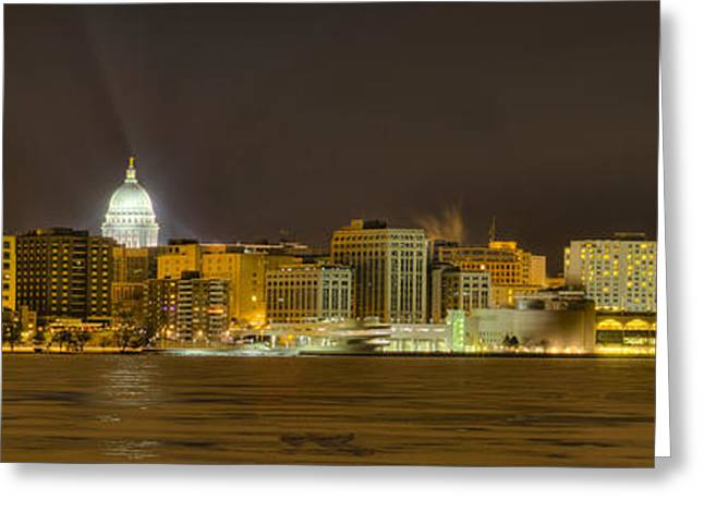Madison - Wisconsin City  Panorama - No Fireworks Greeting Card by Steven Ralser