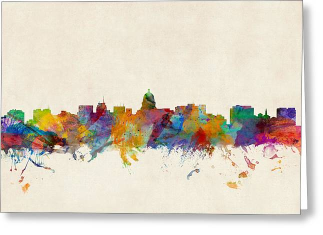 Madison Wisconsin Skyline Greeting Card by Michael Tompsett