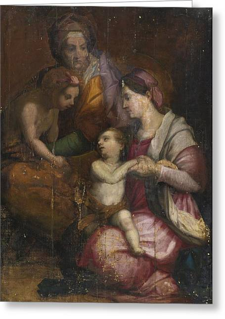 Madonna And Child Greeting Card by Celestial Images