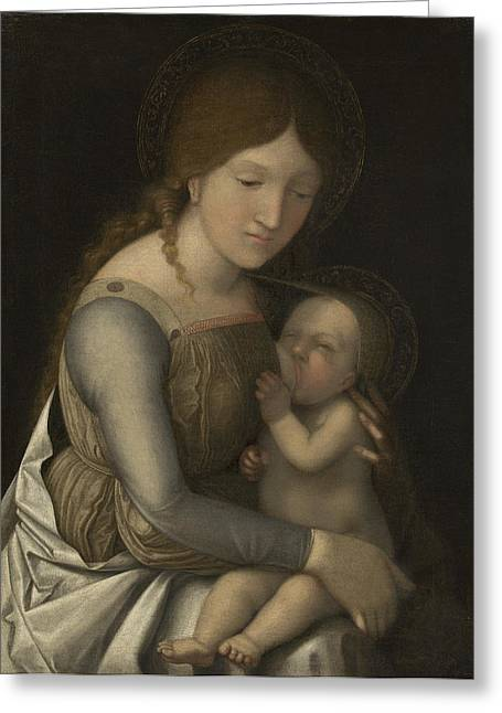 Madonna And Child Greeting Card by Andrea Mantegna
