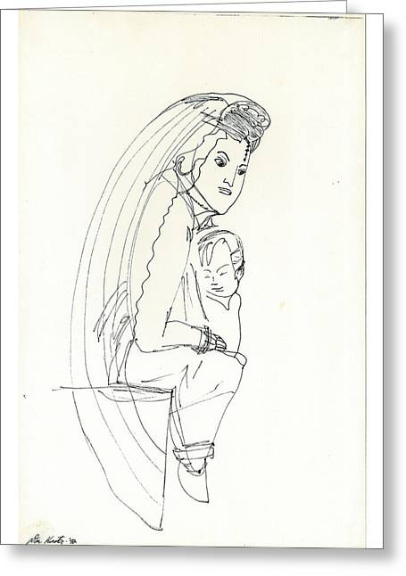 Greeting Card featuring the drawing Madonna And Child by Don Koester