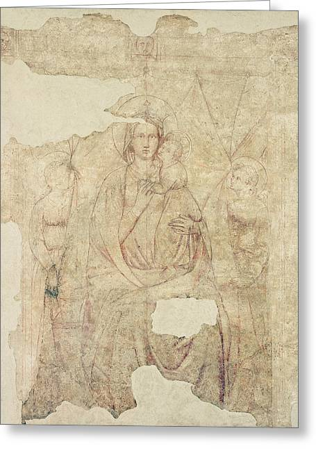 Madonna And Child Enthroned, Drawing For A Fresco Sinopia On Paper Greeting Card by Paolo di Stefano Badaloni Schiavo