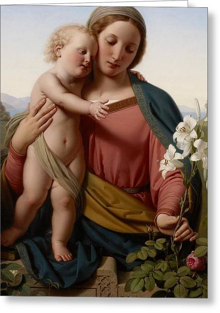 Madonna And Child Greeting Card by Franz Ittenbach