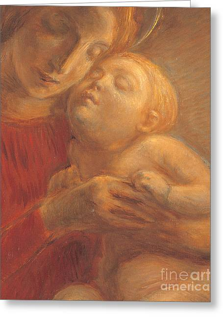 Madonna And Child Greeting Card by Gaetano Previati