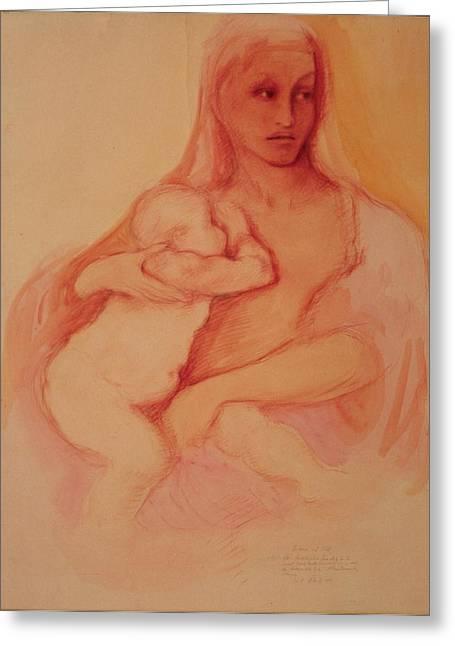 Madonna And Child Greeting Card by Herschel Pollard