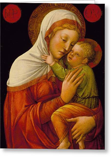 Madonna And Child Greeting Card by Jacob Bellini