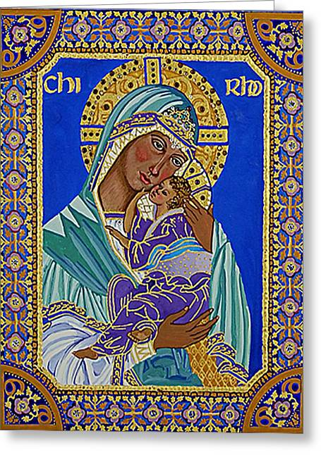 Madonna And Child Greeting Card by Janet Ashworth