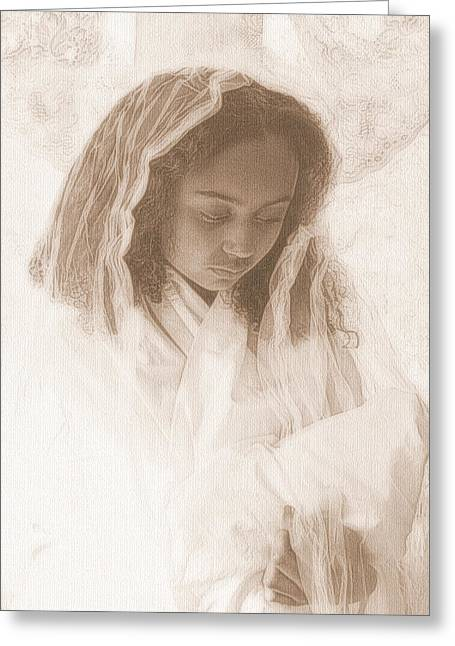 Madonna And Child Greeting Card by Jodie Marie Anne Richardson Traugott          aka jm-ART