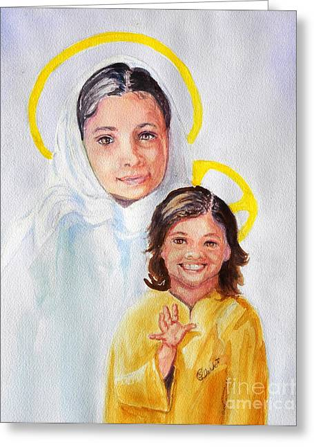Madonna And Child Greeting Card by Susan Lee Clark
