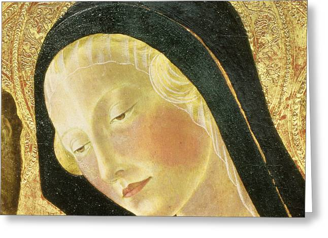Detail Of The Madonna Greeting Card by Neroccio di Landi