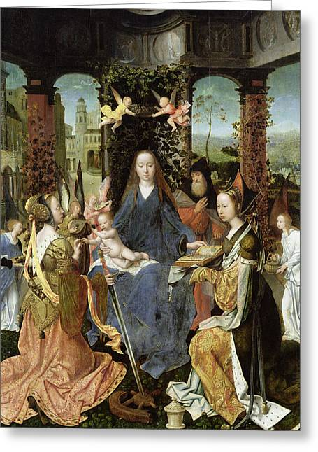 Madonna And Child With Mary Magdalene And St. Catherine Oil On Panel Greeting Card by Jan Gossaert