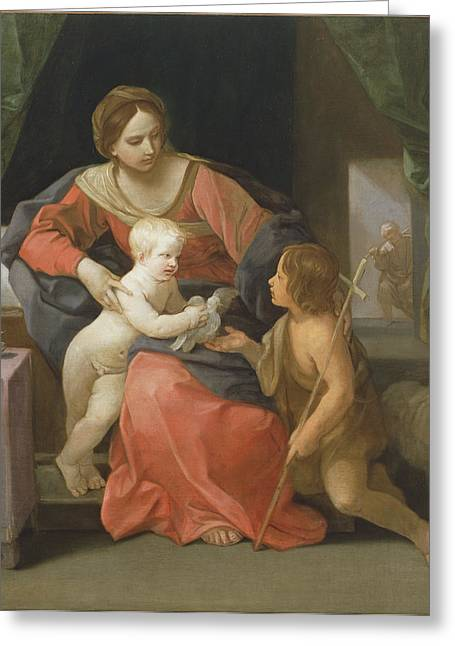 Madonna And Child With Saint John The Baptist Greeting Card by Guido Reni