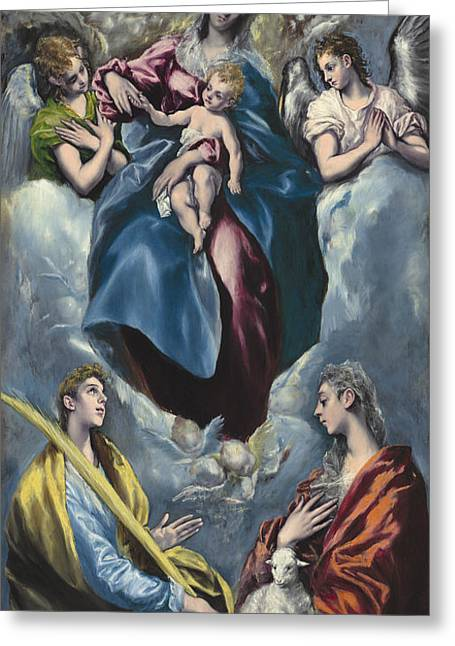Madonna And Child With Saint Martina And Saint Agnes Greeting Card