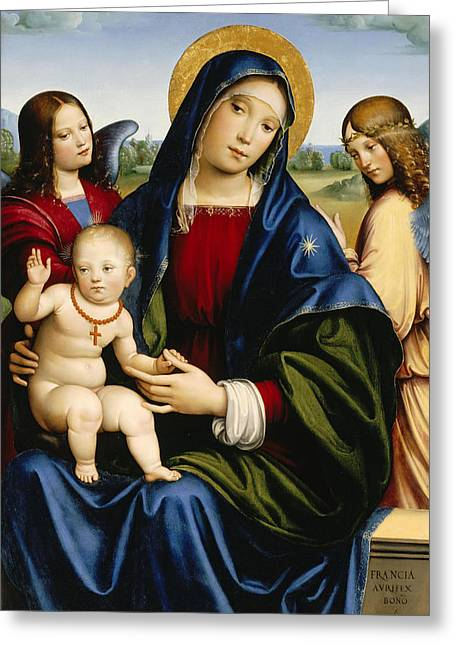 Madonna And Child With Two Angels Greeting Card by Francesco Francia
