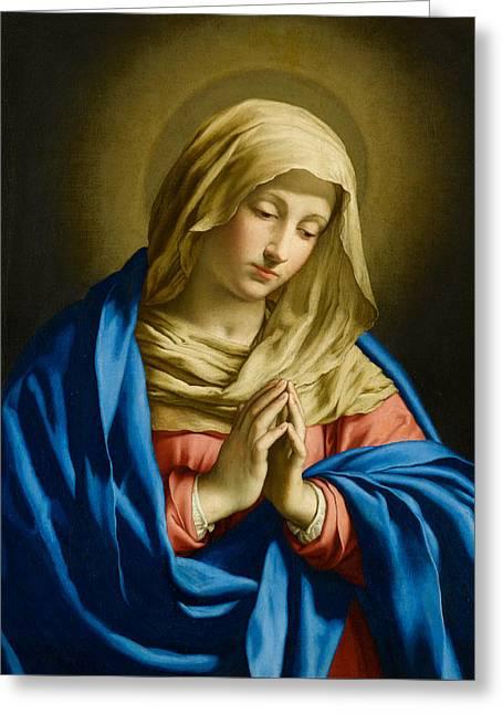 Madonna At Prayer Greeting Card by Giovanni Battista Salvi