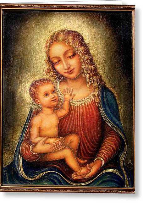 Greeting Card featuring the mixed media Madonna Beata by Ananda Vdovic