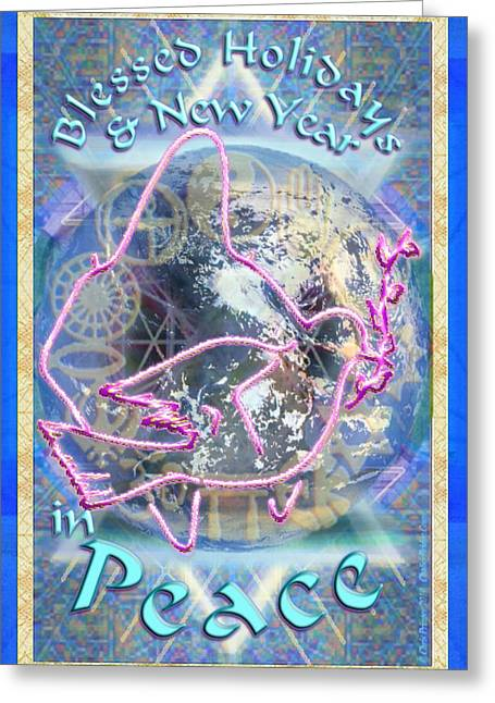 Madonna Dove Chalice And Logos Over Globe Holiday Art With Text Greeting Card