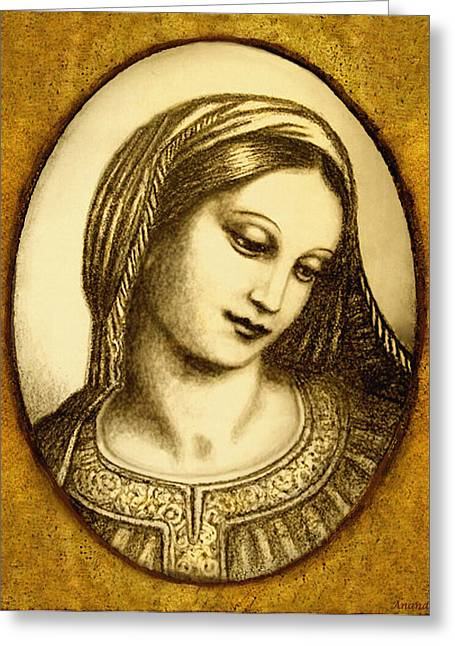 Greeting Card featuring the mixed media Madonna Face  by Ananda Vdovic