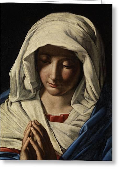 Madonna In Prayer Greeting Card by Giovanni Battista Salvi da Sassoferrato
