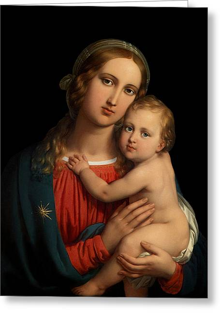 Greeting Card featuring the digital art Madonna by Johann Ender