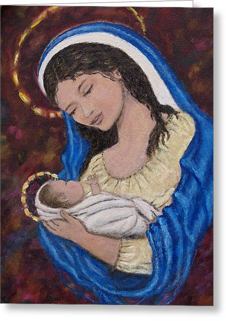 Madonna Of The Burgundy Tapestry - Cropped Greeting Card by Kathleen McDermott