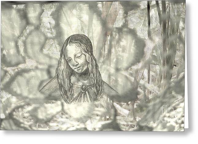 Madonna On Black And White Screen Greeting Card by Genevieve Esson