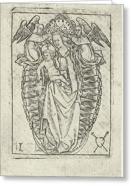 Madonna On The Crescent Moon, Print Maker Meester Met Het Greeting Card by Litz Collection