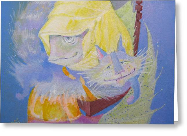 Greeting Card featuring the painting Madonna With A Cat by Marina Gnetetsky