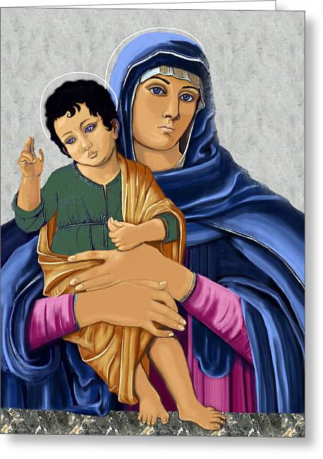 Greeting Card featuring the painting Madonna With Child Blessing by Karon Melillo DeVega