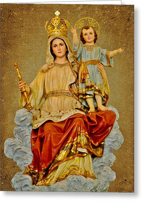 Madonna With Child Greeting Card by Christine Till