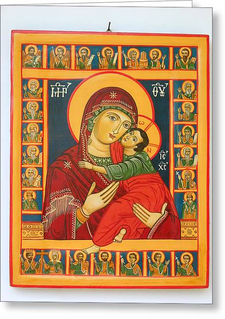 Madonna With Child Jesus Surrounded By Saints Hand Painted Wooden Orthodox Icon Greeting Card by Denise Clemenco