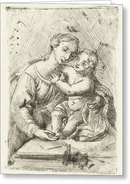 Madonna With Child, Louis Bernard Coclers Greeting Card by Louis Bernard Coclers And Rafa?l