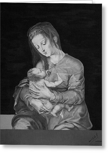 Madonna With The Child Greeting Card by Miguel Rodriguez