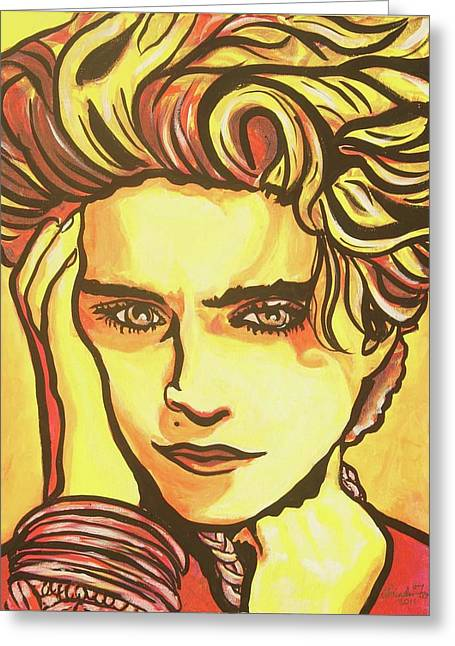 Madonna's Fire Greeting Card by Lorinda Fore