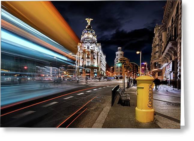 Madrid City Lights IIi Greeting Card