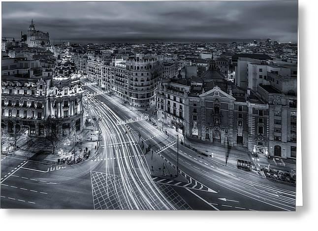 Madrid City Lights Greeting Card