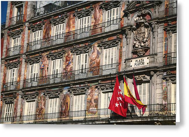 Madrid Murals Greeting Card by Joan Carroll