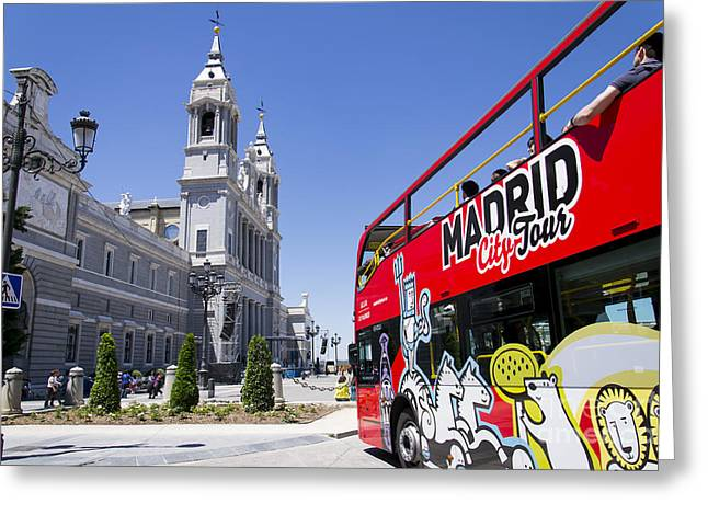 Madrid Tour Bus Greeting Card