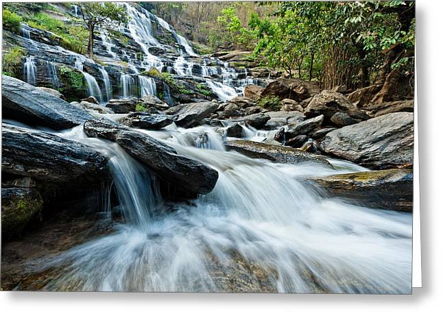 Mae Ya Waterfall Greeting Card by Ulrich Schade