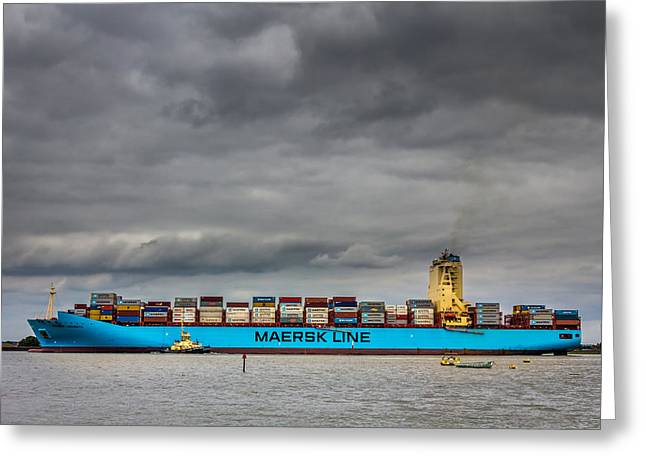 Maersk Container Ship. Greeting Card by Gary Gillette