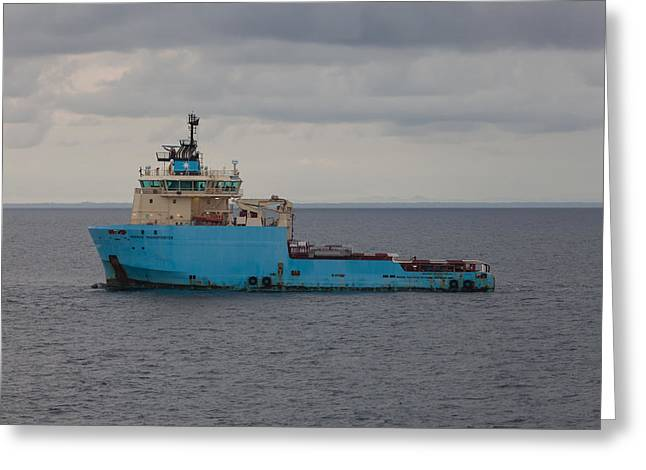 Greeting Card featuring the photograph Maersk Transporter by Gregory Daley  PPSA