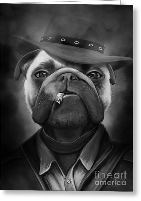 Mafia Dog Greeting Card by Ivan  Pawluk