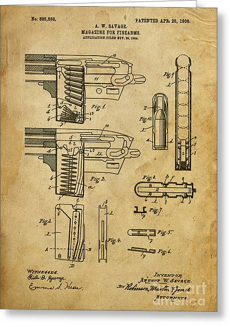Magazine For Firearms - Patented On 1908 Greeting Card