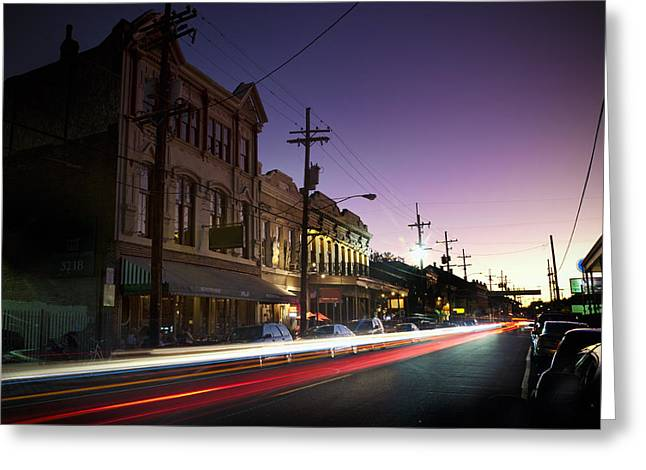 Magazine Street Sunset In Uptown Nola Greeting Card