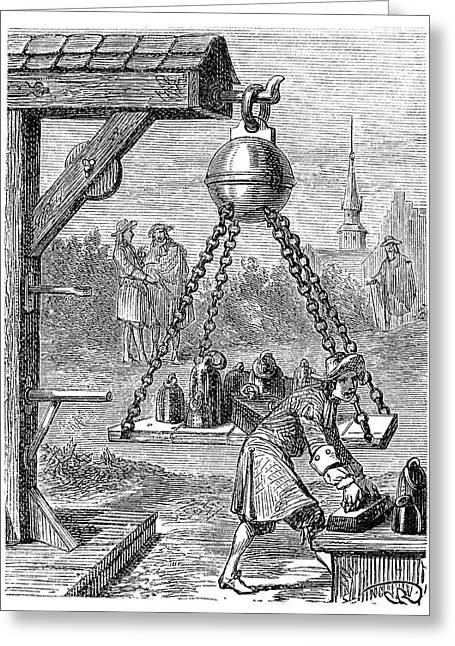 Magdeburg Vacuum Experiment Greeting Card by Science Photo Library