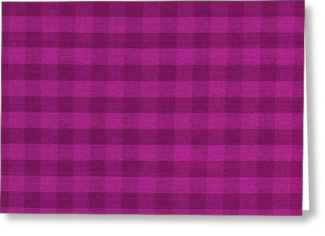 Magenta Checkered Pattern Cloth Background Greeting Card by Keith Webber Jr