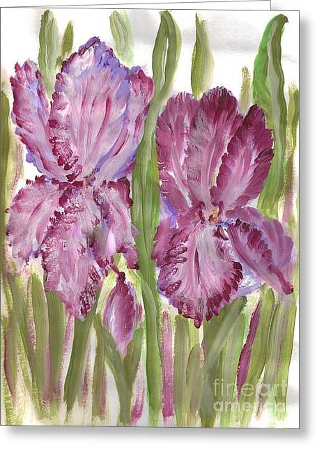 Magenta Iris Greeting Card by Debbie Wassmann