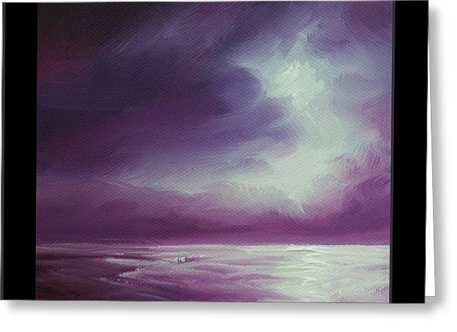 Magenta Moon Iv Greeting Card by James Christopher Hill