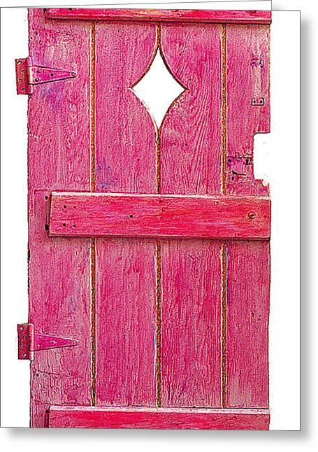 Magenta Pink Painted Garden Door Greeting Card
