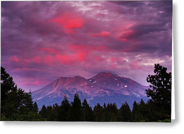 Magenta Sunset Mount Shasta Greeting Card by Jeff Leland
